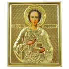 "Ikone ""Heiliger Pantaleon"" mit Metall Oklat, 11 x 13,3 cm"