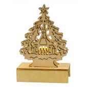 Beleuchtete Weihnachtsdekoration aus Holz 1 LED, H-11 cm