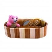 Sauna-Zubehör 5-teilig Set in ovaler Form aus Holz