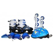 Set 4 in 1 Multiskate mit LED blau-schwarz Gr.34-37