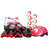 Set 4 in 1 Multiskate mit LED rot-schwarz Gr.34-37
