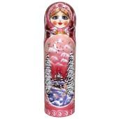 """Dekorative Flaschen Etui """"Landschaft"""" für 0,5l rosa H- 32 cm"""