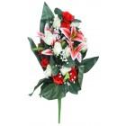 Букет из искусственных цветов бело-красный
