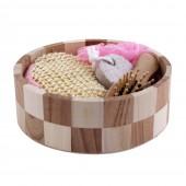 Набор банных принадлежностей 4 предмета в круглой деревянной форме/ розовый