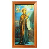 """Икона """"Боголюбская Божья Матерь"""", деревянная рамка, 13,2 x 24,3 см, IK-0052"""
