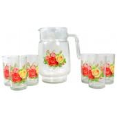 """Набор для напитков """"Розы"""" стекло 7 предметов GE-15605"""