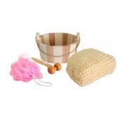 Набор для сауны 3 предмета в деревянном ведерке 14x11,5x9 см