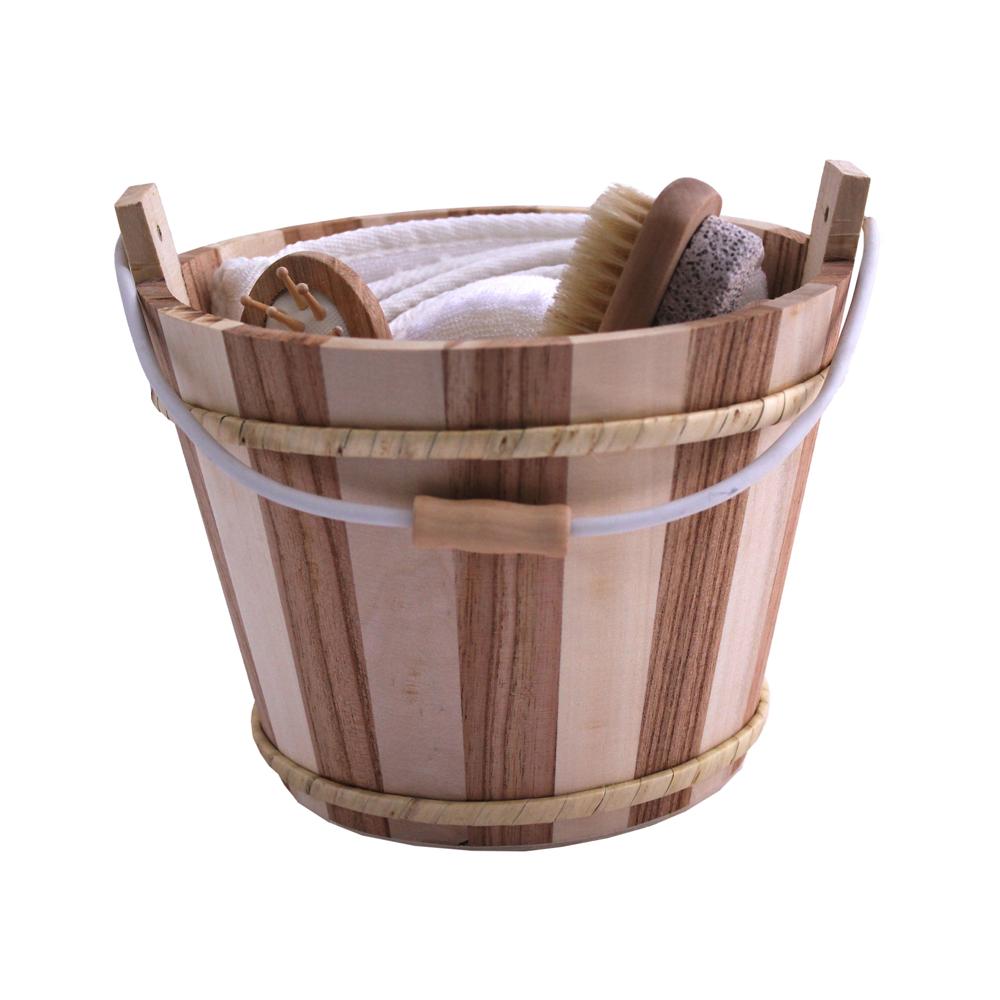 sauna zubeh r 6 teilig set in einem holz eimer. Black Bedroom Furniture Sets. Home Design Ideas