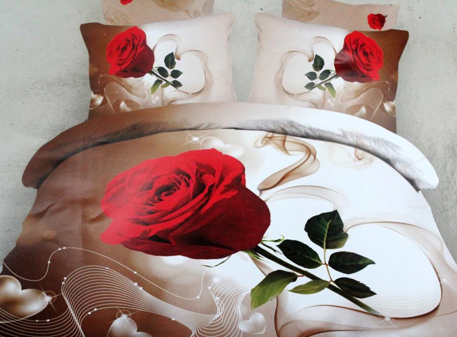 3d Bettwäsche Set Rose Mit Stiel Weiß Braun 4 Teilig Te 17295